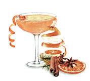 Cocktail watercolor illustration. Hand drawn watercolor illustration of summer fresh cocktail and orange decoration. Isolated on the white background Stock Illustration