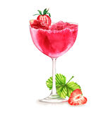 Cocktail watercolor illustration. Hand drawn watercolor illustration of summer fresh cocktail with strawberries. Isolated on the white background Vector Illustration