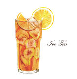 Cocktail watercolor illustration. Hand drawn watercolor illustration of summer Ice Tea with lemon. Isolated on the white background Vector Illustration