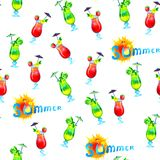 Cocktail watercolor seamless pattern. vector illustration