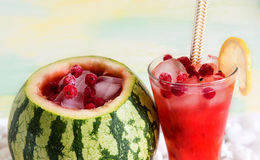 Cocktail in the watermelon, fresh smoothie. A refreshing summer drink. Royalty Free Stock Image
