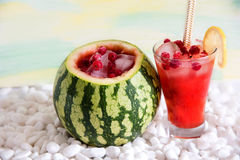 Cocktail in the watermelon, fresh smoothie. A refreshing summer drink. Royalty Free Stock Images