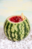 Cocktail in the watermelon, fresh smoothie. A refreshing summer drink. Stock Image