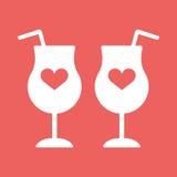 Cocktail, Wein, Champagnerglasherzen Stockbilder