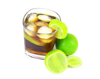 Cocktail with whisky, cola and fresh lime Stock Image