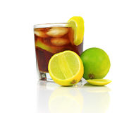 Cocktail with whisky, cola and fresh lime Royalty Free Stock Images