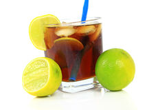 Cocktail with whisky, cola and fresh lime Royalty Free Stock Photography