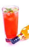 Cocktail and wine bottle royalty free stock image