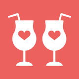 Cocktail, wine, champagne glass hearts. Champagne glass hearts with red concept beverage, contour, fun event decoration, bubbly, meeting white eps10 Stock Images
