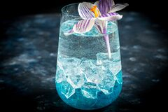 Free Cocktail With Blue Liquor And Ice. Celebratory Drink For Women`s Day, Birthday, Easter. On A Dark Background Royalty Free Stock Images - 173243929