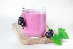 Cocktail of yogurt with black currant berries in glass on wooden board. Cocktail is decorated with bunches black currant berries. Cocktail of yogurt with black stock image