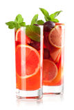 Cocktailansammlung: Erneuernfruchtsangria Stockfotos