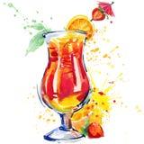 Cocktailfrucht, Eis und ein Spritzen Hand gezeichnete Aquarellillustration vektor abbildung