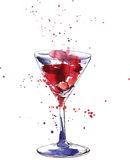 Cocktailglas met kers vector illustratie