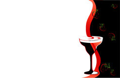 Cocktailglasschwarzes und -ROT Lizenzfreies Stockbild