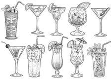 Cocktailillustratie, tekening, gravure, inkt, lijnkunst, vector stock foto's
