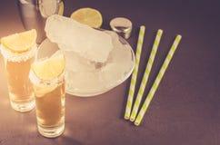 Cocktailingredi?nten en Tequila-schoten/cocktailingredi?nten en Tequila-schoten op een donkere achtergrond gestemd royalty-vrije stock foto's