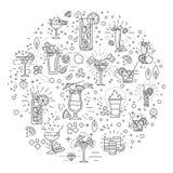 Cocktailkonzeptillustration, zeichnen flaches Design Stockfotos
