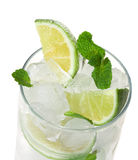 Cocktaill: mint, lime, ice, vodka Royalty Free Stock Images