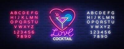 Cocktaillogo in der Neonart Liebes-Cocktail Leuchtreklame, Designschablone für Getränke, Alkoholiker Helle Fahne, hell stock abbildung