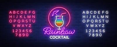 Cocktaillogo in der Neonart Regenbogencocktail Leuchtreklame, Designschablone für Getränke, Alkoholiker Helle Fahne, hell stock abbildung