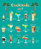 Cocktailmenu, dat uit populaire dranken bestaat Royalty-vrije Stock Fotografie
