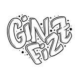 Cocktailnaam, die in hart van letters voorzien - Gin Fizz Hand getrokken illustratie in bellenstijl Malplaatje voor Affiche, Bann vector illustratie