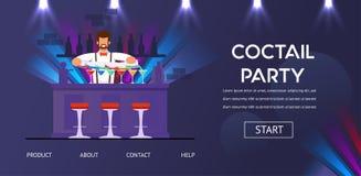 Cocktailparty-Barmixer am Zähler bereiten Getränke vor stock abbildung