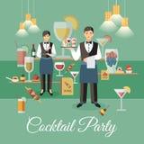 Cocktailparty-Ereignis-Ereignis-flache Vektor-Fahne lizenzfreie abbildung
