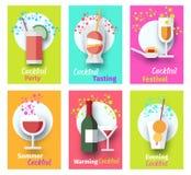 Cocktailparty-Plakat eingestellt mit Gl?sern und Flasche vektor abbildung