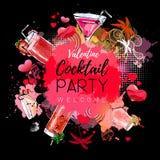 Cocktailparty-Plakatdesign Cocktailmenü Stockfoto