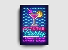 Cocktailparty-Plakatneonvektor Sommerfestdesignschablone, helle Neonbroschüre, modernes Tendenzdesign, helle Fahne lizenzfreie abbildung