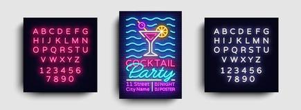 Cocktailparty-Plakatneonvektor Sommerfestdesignschablone, helle Neonbroschüre, modernes Tendenzdesign, helle Fahne stock abbildung
