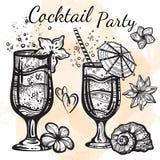 Cocktailparty-Vektorillustration Grafische Lebensmittel- und Getränkelemente der linearen Art lokalisiert Tropische Stimmung Perf stock abbildung