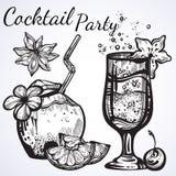 Cocktailparty-Vektorillustration Grafische Lebensmittel- und Getränkelemente der linearen Art lokalisiert Tropische Stimmung Perf vektor abbildung