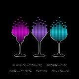 Cocktailpartyschablone mit Gläsern und Entzerrer vektor abbildung