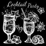 Cocktailpartyvektorillustration Grafiska isolerade mat- och drinkbeståndsdelar för linjär stil tropisk mood Perfekt menymall stock illustrationer