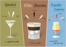Cocktailrecepten, Vector Royalty-vrije Stock Foto's