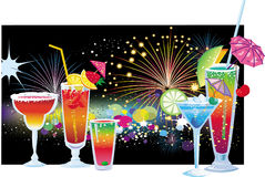 Cocktails. On background of vector fireworks in the night sky Stock Photography