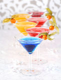 Cocktails. Delicious coctails garnished with fruits stock photos