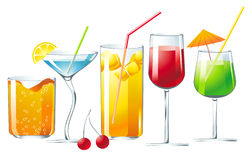 Cocktails. 5 different cocktails over white background vector illustration
