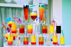 Cocktails. Multiple cocktails in different colours Stock Photo
