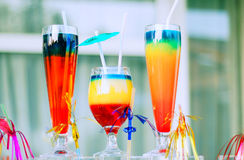 Cocktails. Multiple cocktails in different colours Stock Photography