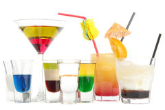Cocktails. Some multi-colored puff cocktails on a white background Royalty Free Stock Photo