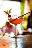 Cocktails. Alcoholic cerise cocktails with nature bacgraund Royalty Free Stock Photos