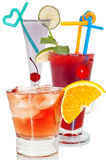 Cocktails. Various, bright cocktails on a white background, close up Stock Photos