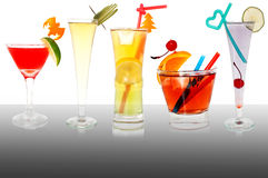 Cocktails. Some colourful cocktails standing on a table, close up Royalty Free Stock Photography