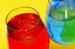 Cocktails. Some glasses with cocktails of different colors Stock Photography