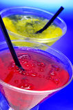 Cocktails. Some glasses with cocktails of different colors in a club Royalty Free Stock Images
