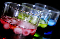 Cocktails. Closeup of some glasses with cocktails of different colors in a club Stock Image